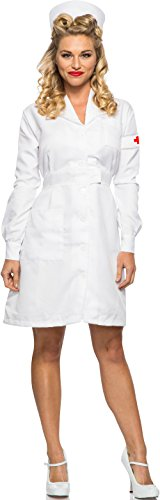 Women's 1940s WWII Vintage War White Nurse Dress Costume X-Large 12-14]()