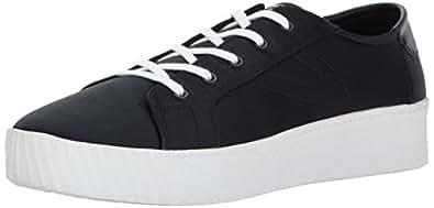 TRETORN Women's BLAIRE7 Sneaker, Black Satin, 4 M US