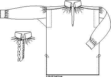 Camisa de hombre 1790-1830. Patrón de estilo inglés