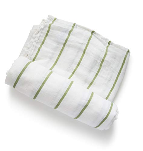 Swaddle Blanket Sage - Ultra Soft Baby Swaddle Blanket - Sage Stripe - Simple Style, Bamboo Cotton Blend, 47