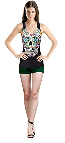 Longwu Sexy Women's Digital Printed Sleeveless Summer Tank Tops Flower Skull
