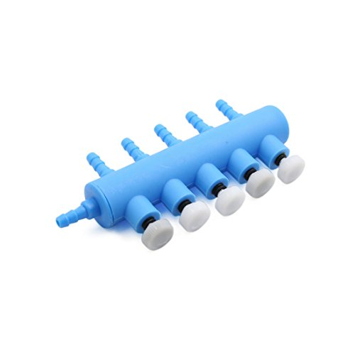 Acuario Válvula para De Plástico De Aire sourcing Bomba de De De map Vías Salida Distribuidor del 5 De Flujo Control Azul 5wHqR8