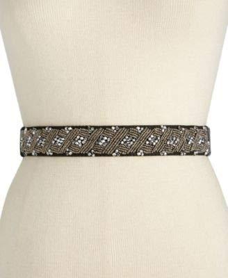 INC Womens Faux Suede Beaded Elastic Belt Gray S/M