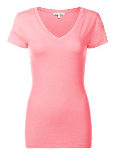 Luna Flower Basic Cotton Slim Short Sleeve Deep V-neck T-Shirt Tops 092-Coral 2 US S