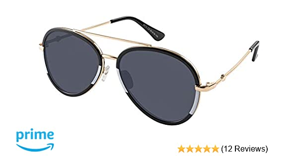 b5c178d44a Amazon.com  Double bridge Aviator gold black and white frame with grey lens   Clothing