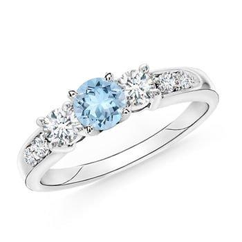 Angara Classic Three Stone Enhanced Blue Diamond Ring(6mm) KjSDEP