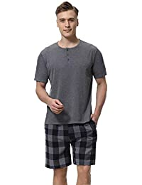 Underwear & Sleepwears Summer 100% Cotton Short Sleeved Mens Pajama Sets Male Front Pocket White Tops Pajama Sleepwear Men Navy Sleep Shorts Size 3xl