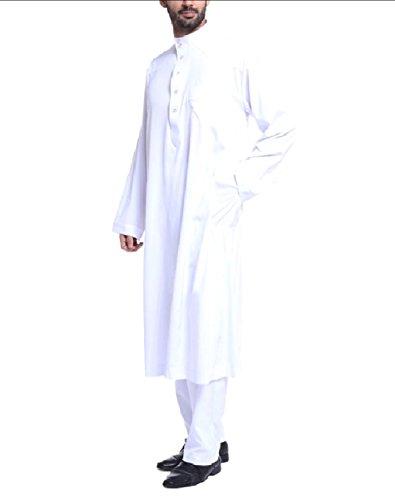 Winwinus Men Middle East Islamic Saudi Arabia Muslim Salwar Suit Sets White L by Winwinus