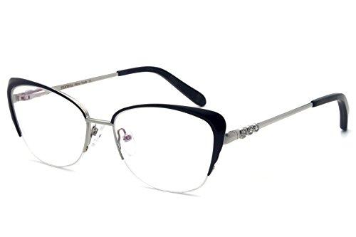 Women eyewear frames design temple Metal Half Frame RX-Able - Rhinestones With Eyeglasses