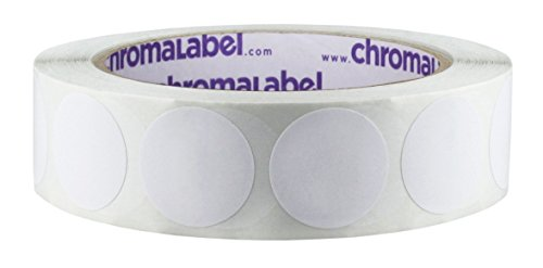 ChromaLabel 1 inch Removable Color-Code Dot Labels | 1,000/Roll (White)