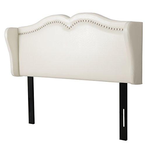 Great Deal Furniture Glendon Adjustable Ivory Leather Headboard for (Ivory Metal Headboard)