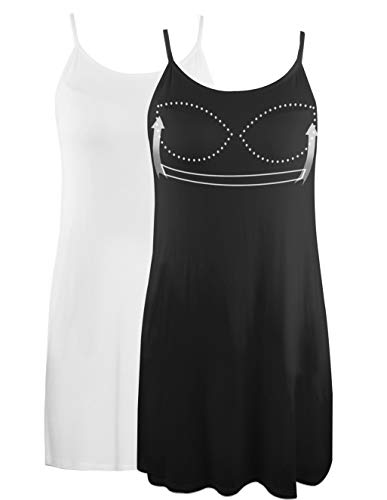 Camisole Dress for Women with Built in Bra Adjustable Strap Mini Cami Tank Dress for Sleeping Daily Wearing 2 Pack Black and White L