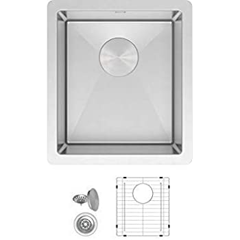 ZUHNE Modena 13 x 15 Inch Wet Bar, Small Prep, RV and Utility Kitchen Sink Undermount Single Bowl 16 Gauge Stainless Steel W. Scratch Protector Grate and ...