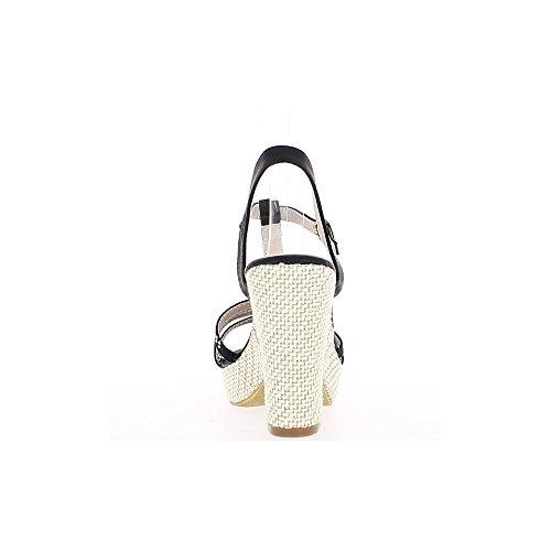 Sandali tacco materiale bi nero grande 11cm