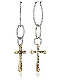 Lucky Brand Women's Hammered Hoop Cross Earring Silver Drop Earrings