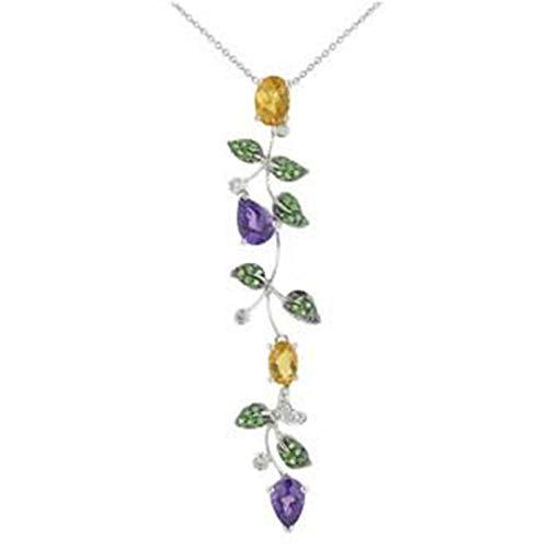 Aienid 2.85 Carat Diamond Multi Color Gemstone Tsavorite 14K White Gold Necklace for Women ()