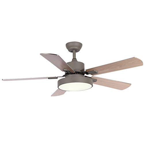 (NAF Modern 42-inch / 52-inch Ceiling Fan with LED Lights, 5 Pieces of Brown Wood Fan Leaves, Green, Gray Metal Body and Acrylic lampshade, with Remote Control)
