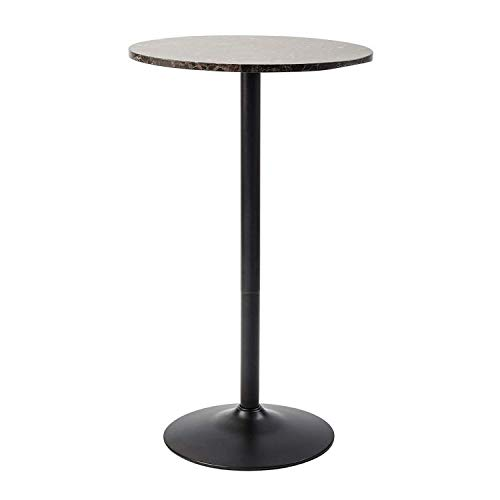 Hardwood Pub Table - Pearington PEAR-10001 Lucia Round Bar and Pub Table with Faux Marble Top, 1 Pack,