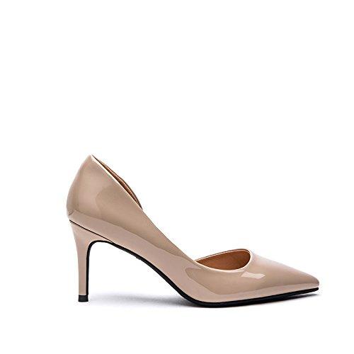 FLYRCX della profonda moda Semplice punta sottile con di di poco una 34 lady scarpe brevetto del tacchi parte mondo scarpe bocca personalità 38 rIwrqpS