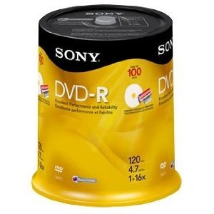 image about Ink Jet Printable Dvd identify Sony 16x 4.7GB Inkjet Printable Blank DVD-R (100-Pack Spindle)