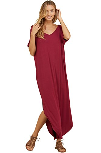 Annabelle Women's Twisted Slit Short Sleeve V-Neck Oversized Maxi Dress with Pockets Berry Small D5210