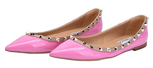 CAMSSOO Damen Klassische Nieten Spitzen Zehen Slip On Comfort Wohnungen Kleid Pumps Schuhe Lila Patant Pu