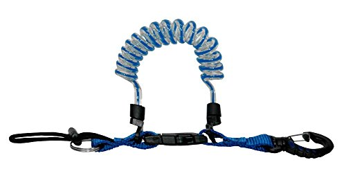 (Phantom Aquatics Quick Release Coil Lanyard with Clip and SS Split Ring, Blue)
