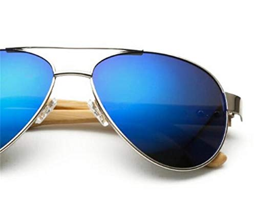 de de Lunettes la soleil conduite mode de UV400 lunettes protection unisexe de soleil voyager en plein pêche Silver Cool de Huyizhi lunettes bois en air aI5wq6x