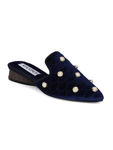 Alrisco Women Quilted Velvet Faux Pearl Pointy Toe Low Heel Mule HE91 - Navy Velvet (Size: 9.0) by Alrisco