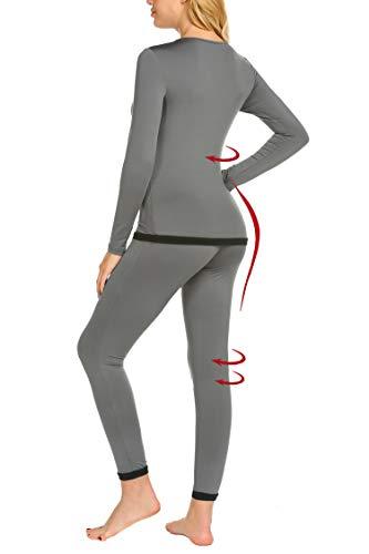 MAXMODA Femme Ensemble de sous-vêtement Thermique Vêtement de Nuit Chaud Leggings Hiver S-XXL