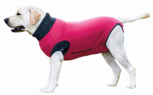 MAXX Dog Medical Pet Clothing, E Collar Alternative, Dog Recovery Suit for After Surgery, Vet Approved Post-Operative Pet Wear, Anxiety Wrap, Abdominal Wound Protection Clothes (Ruby Red, XS)