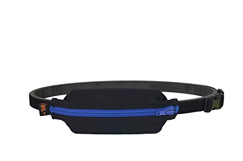 SPIbelt Kids No-Bounce Belt with Hole for Insulin Pump, Medical Devices or Headphones for Active Kids! (Black with Blue Zipper)