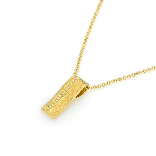 14k hammered gold artisan scroll shaped bar necklace with diamonds