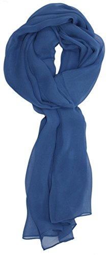 Ted and Jack - Solid Silk Lightweight Accent Scarf (Denim Blue)