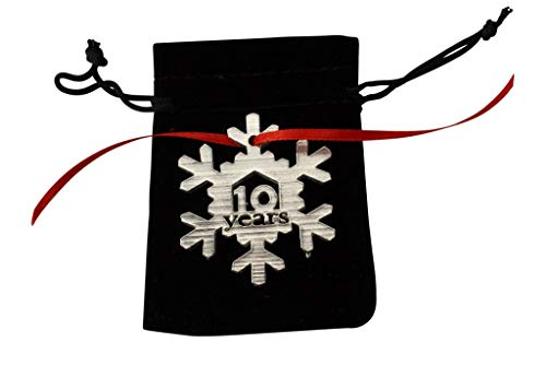 10 Years Cut Out Metal Snowflake Christmas Tree Hanging Decoration - 10th Wedding Anniversary (Gift Anniversary Tin)