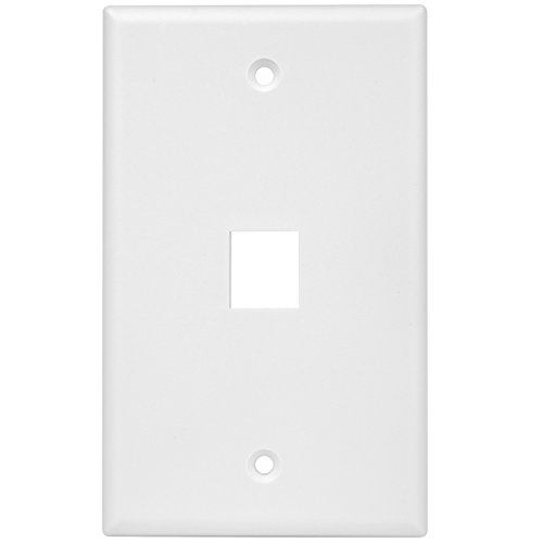 Port Plate 1 Cat5e Wall (Enerlites 8871-W 1 Gang 1-Port Keystone Wall Plate for Voice/Data and Audio/Video Multimedia Modules, White)