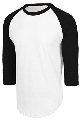 JC DISTRO Men's Baseball 3/4 Sleeve Essential Raglan Tee Jersey Shirt White Black, Small