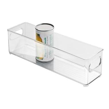 InterDesign Refrigerator and Freezer Storage Organizer Bins for Kitchen, 4  x 4  x 14.5 , Clear