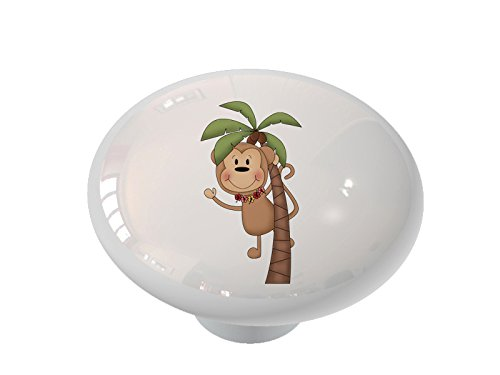 Palm Tree Luau Monkey High Gloss Ceramic Drawer Knob