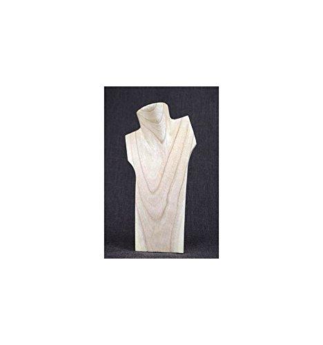 Busto espositore per collane, in legno massello grezzo, altezza: 30 cm Artisanal