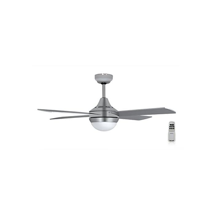 31CjHGrYHIL Ventilador de techo Orbegozo con luz led de bajo consumo y mando a distancia 4 palas de 120 cm de diámetro Motor con potencia de 60 W que garantiza un buen caudal de aire