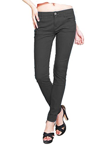 Hollywood Star Fashion Women's Misses French Terry Skinny Pant Jeggings Cotton Stretch Color Legging Basic Pants (3XL, Charcoal)