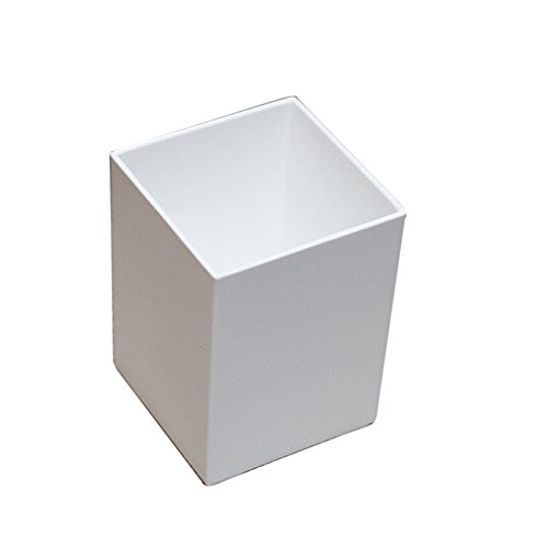 Ornerx Square Shape Pencil Holder Desk Organizer - Pen White Plastic