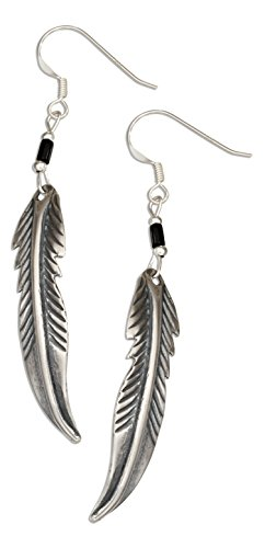 Sterling Silver Feather Earrings with Reconstituted Onyx Heishi Bead