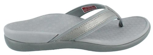 VIONIC Womens IN44 Islander Leather Sandals Pewter Metallic