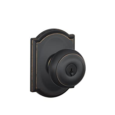 Schlage F51A GEO 716 CAM Camelot Collection Georgian Keyed Entry Knob, Aged Bronze