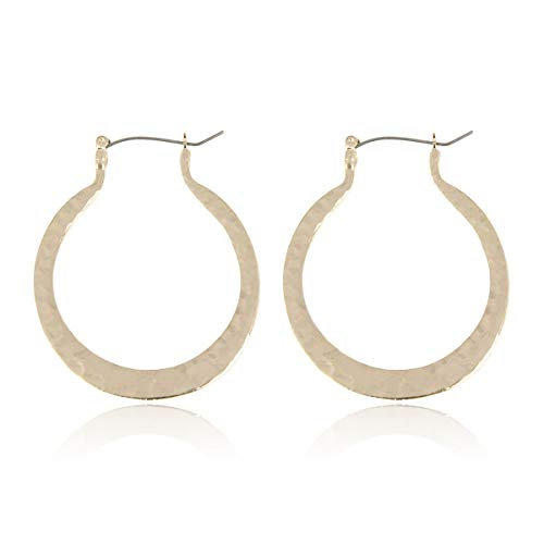 RIAH FASHION Simple Geometric Hoop Statement Earrings - Bohemian Tribal Lightweight Profile Shield Threader Dangles Curved Metal Crescent Moon, Embellished, Floral (Hammered Round - Matte Gold) - Round Earrings Floral