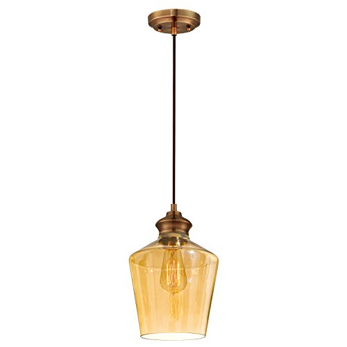 Westinghouse 6205300 One-Light Adjustable Vintage Mini Pendant with Amber Glass, Copper - Amber Mini Pendant