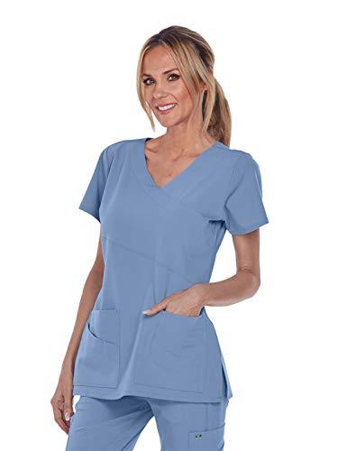 (Grey's Anatomy Signature 2130 Mock Wrap Top Ciel Blue 2XL)