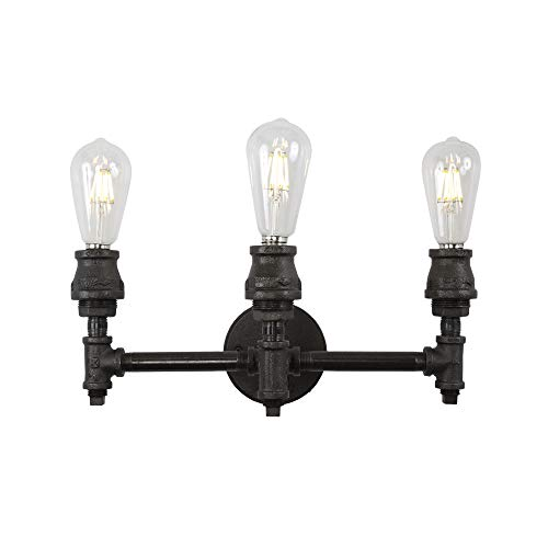 West Ninth Vintage Devon Three Socket Bathroom Vanity Light - Authentic Iron Pipe Construction - Industrial Look for Your Home ()
